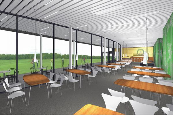 Skissförslag till nytt klubbhus åt Norrköpings golfklubb.
