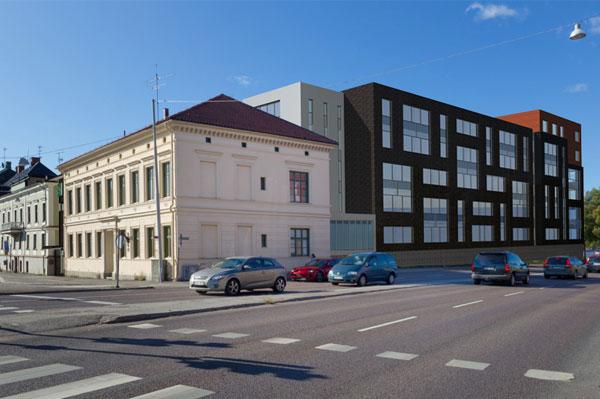 Nybyggnad av hotell, kontorshus och bostäder i kvarteret Spinnhuset, Norrköping.