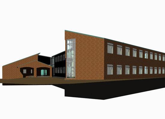 Om- och tillbyggnad av det gamla tingshuset i kvarteret Syrenen i Västervik.